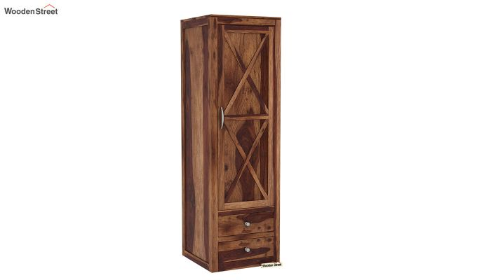 Warner 3 Door Multi Utility Wardrobe (Teak Finish)-7