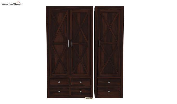 Warner 3 Door Multi Utility Wardrobe (Walnut Finish)-4
