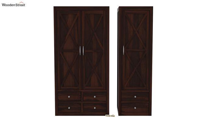 Warner 3 Door Multi Utility Wardrobe (Walnut Finish)-5