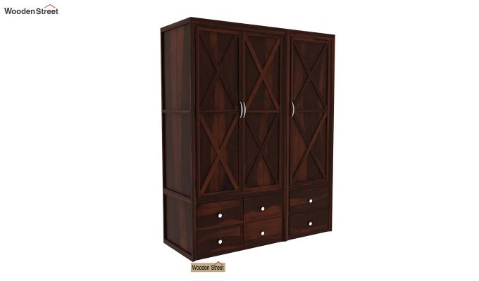 Warner 3 Door Multi Utility Wardrobe (Walnut Finish)-1