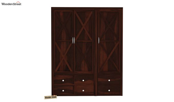 Warner 3 Door Multi Utility Wardrobe (Walnut Finish)-2