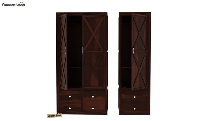 Warner 3 Door Multi Utility Wardrobe (Walnut Finish)-4