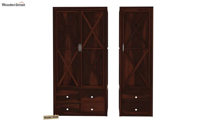 Warner 3 Door Multi Utility Wardrobe (Walnut Finish)-5