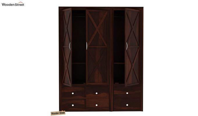 Warner 3 Door Multi Utility Wardrobe (Walnut Finish)-6