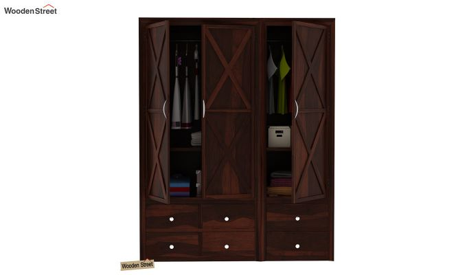 Warner 3 Door Multi Utility Wardrobe (Walnut Finish)-7