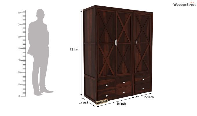 Warner 3 Door Multi Utility Wardrobe (Walnut Finish)-9
