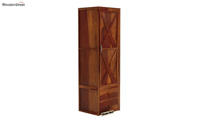 Warner 1 Door Multi Utility Wardrobe (Honey Finish)-1