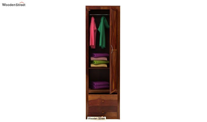 Warner 1 Door Multi Utility Wardrobe (Honey Finish)-3