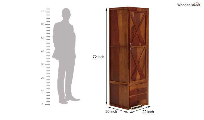 Warner 1 Door Multi Utility Wardrobe (Honey Finish)-4