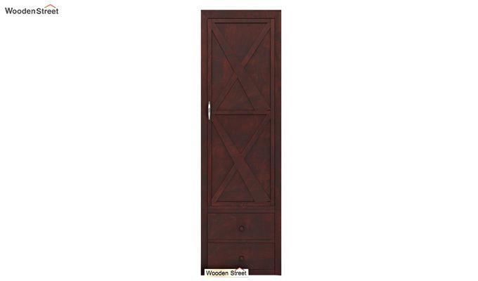 Warner 1 Door Multi Utility Wardrobe (Mahogany Finish)-2