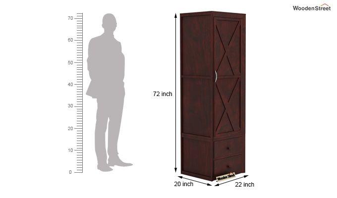 Warner 1 Door Multi Utility Wardrobe (Mahogany Finish)-4