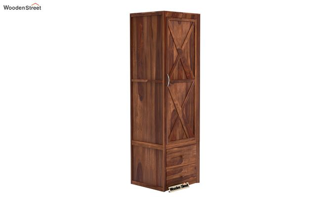 Warner 1 Door Multi Utility Wardrobe (Teak Finish)-1