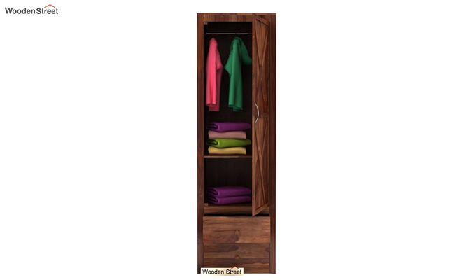 Warner 1 Door Multi Utility Wardrobe (Teak Finish)-3