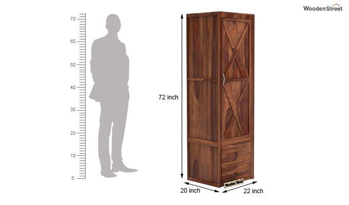 Warner 1 Door Multi Utility Wardrobe (Teak Finish)-4