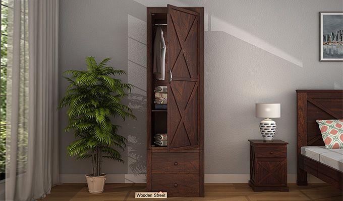 Warner 1 Door Multi Utility Wardrobe (Walnut Finish)-1