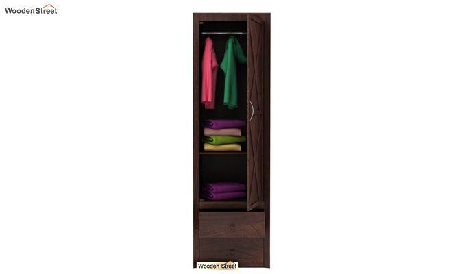 Warner 1 Door Multi Utility Wardrobe (Walnut Finish)-4