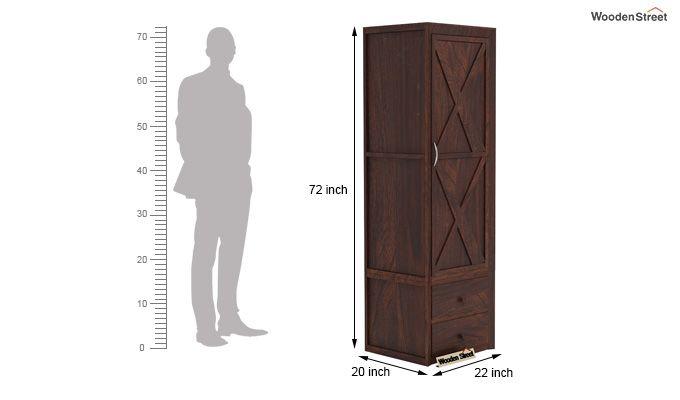 Warner 1 Door Multi Utility Wardrobe (Walnut Finish)-5