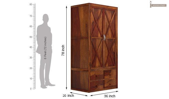 Warner Multi Utility Wardrobe (Honey Finish)-3