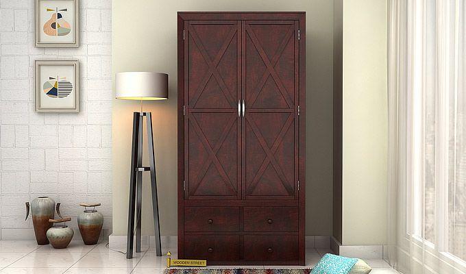 Warner Multi Utility Wardrobe (Mahogany Finish)-1