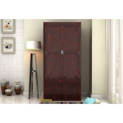 Warner Multi Utility Wardrobe (Mahogany Finish)