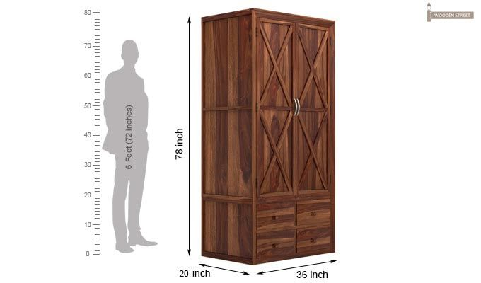 Warner Multi Utility Wardrobe (Teak Finish)-7