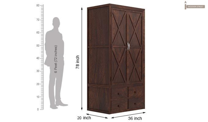Warner Multi Utility Wardrobe (Walnut Finish)-3