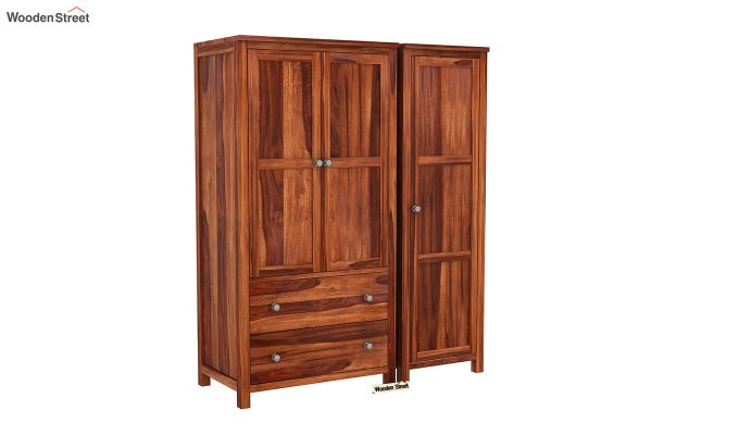 Zed Multi Utility Wardrobe (Honey Finish)-3