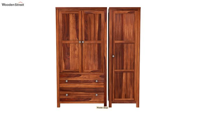 Zed Multi Utility Wardrobe (Honey Finish)-4