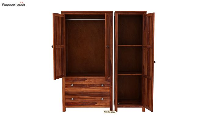 Zed Multi Utility Wardrobe (Honey Finish)-6