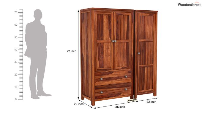 Zed Multi Utility Wardrobe (Honey Finish)-9