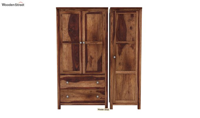 Zed Multi Utility Wardrobe (Teak Finish)-4