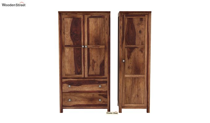 Zed Multi Utility Wardrobe (Teak Finish)-5