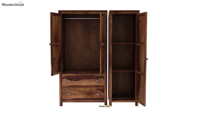 Zed Multi Utility Wardrobe (Teak Finish)-6