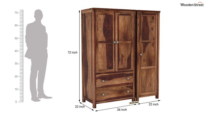 Zed Multi Utility Wardrobe (Teak Finish)-9