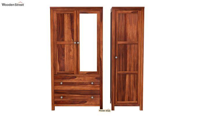 Zed 3 Door Multi-Utility Wardrobe with Mirror (Honey Finish)-5