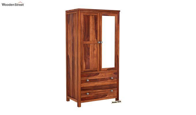 Zed 3 Door Multi-Utility Wardrobe with Mirror (Honey Finish)-6