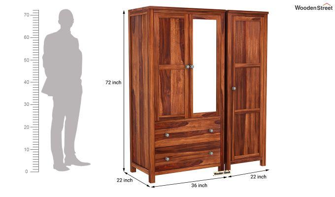 Zed 3 Door Multi-Utility Wardrobe with Mirror (Honey Finish)-8