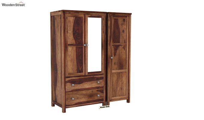 Zed 3 Door Multi-Utility Wardrobe with Mirror (Teak Finish)-3