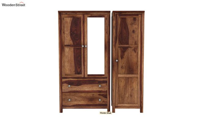 Zed 3 Door Multi-Utility Wardrobe with Mirror (Teak Finish)-4