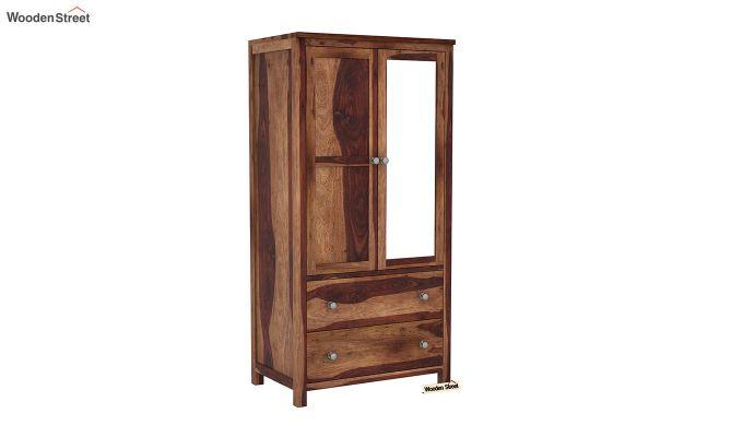Zed 3 Door Multi-Utility Wardrobe with Mirror (Teak Finish)-6