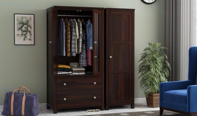 Zed 3 Door Multi-Utility Wardrobe with Mirror (Walnut Finish)-2