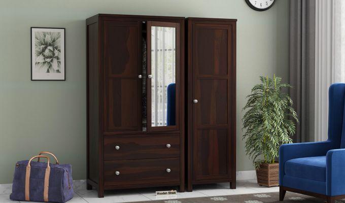 Zed 3 Door Multi-Utility Wardrobe with Mirror (Walnut Finish)-1