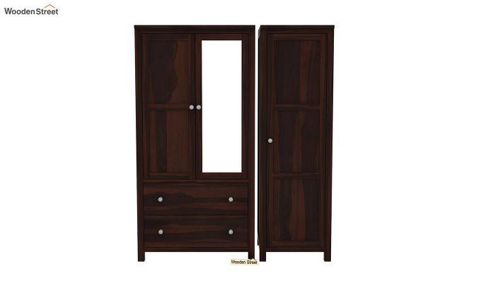 Zed 3 Door Multi-Utility Wardrobe with Mirror (Walnut Finish)-4
