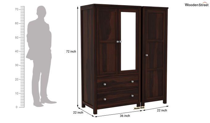 Zed 3 Door Multi-Utility Wardrobe with Mirror (Walnut Finish)-8