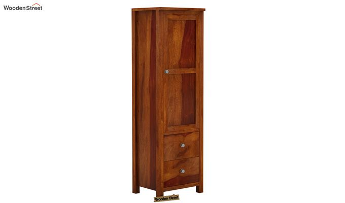 Zed 1 Door Multi Utility Wardrobe (Honey Finish)-2