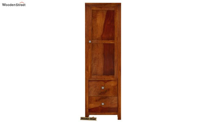 Zed 1 Door Multi Utility Wardrobe (Honey Finish)-3