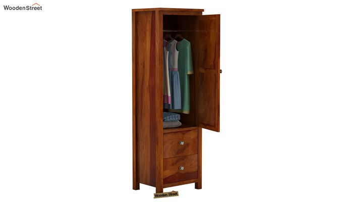 Zed 1 Door Multi Utility Wardrobe (Honey Finish)-4