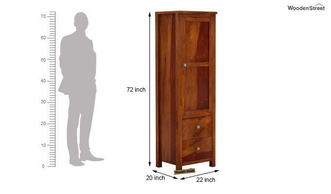 Zed 1 Door Multi Utility Wardrobe (Honey Finish)-5