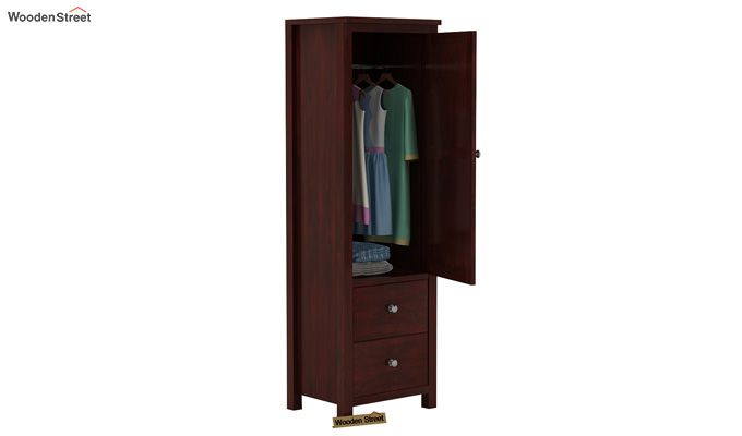 Zed 1 Door Multi Utility Wardrobe (Mahogany Finish)-3