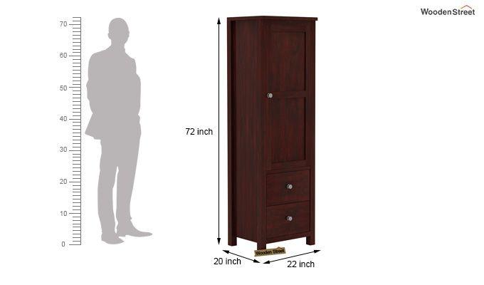 Zed 1 Door Multi Utility Wardrobe (Mahogany Finish)-4